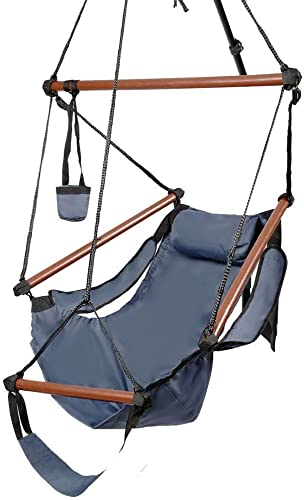 Kuyal Hanging Hammock Chair Deluxe Swing Outdoor Chair W Pillow and Drink Holder for Backyard, Bedroom, Porch, Outdoor Camping Well-Equipped S-Shaped Hook Blue