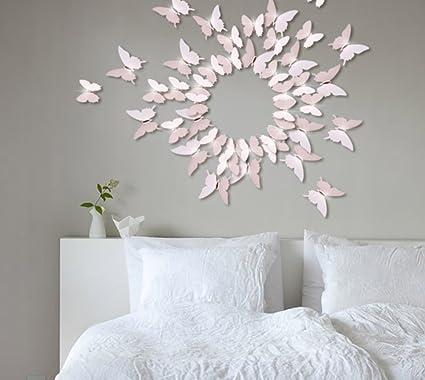 Extsud 12 Stück 3D Schmetterlings Wandaufkleber Wandsticker Wandtattoo  Wanddeko mit Kristall Dekor für Wohnzimmer, Kinderzimmer, Türen, Fenster,  ...