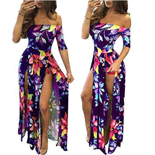 Romper Split Maxi Dress High Elasticity Floral Print Short Jumpsuit Overlay Skirt for Summmer Party Beach ¡ (5XL, Purple -