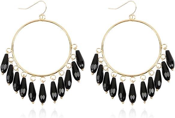 Bohemian Dangle Earrings Shell Disc Charms Drop Lightweight Jewel for Women