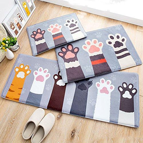 3-Piece Sets Cute Cats Paw Memory Foam Door Mats Bathroom Mats Non-slip Absorbent Kitchen Rug Machine Washable Rug Runner(1'3x2'0+1'6x2'6+1'5x4'0, Gray)