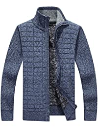 Men's Solid Slim Fit Long Sleeve Zip up Knit Cardigan