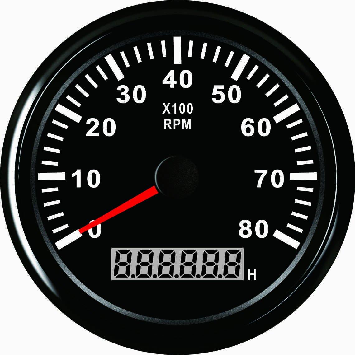 Contagiri rpm calibro con contatore orario per auto camion barca yacht 0 –  rpm 85 mm con retroilluminazione ELING