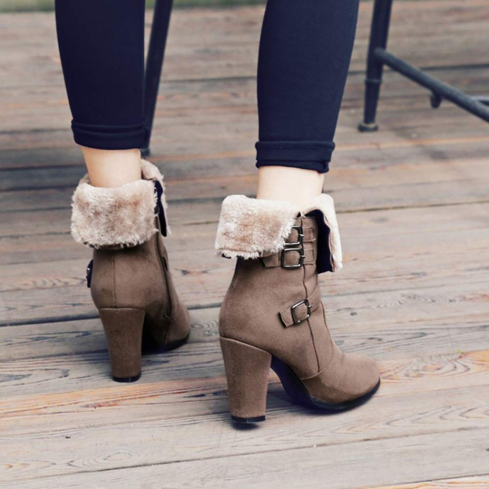 GAOQQ Women Snow Boots,Mid Heel Faux Suede Fur Lined Shoes,Winter Warm Short Block Ankle Booties for Outdoor,Black-CN39