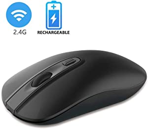 Rechargeable Wireless Mouse for Laptop, Cimetech 2.4G Computer Mouse Cordless Optical Mice, Slim Quiet Wireless Mouse with USB Nano Receiver, 5 Adjustable DPI 2400/2000/1600/1200/800 (Black)