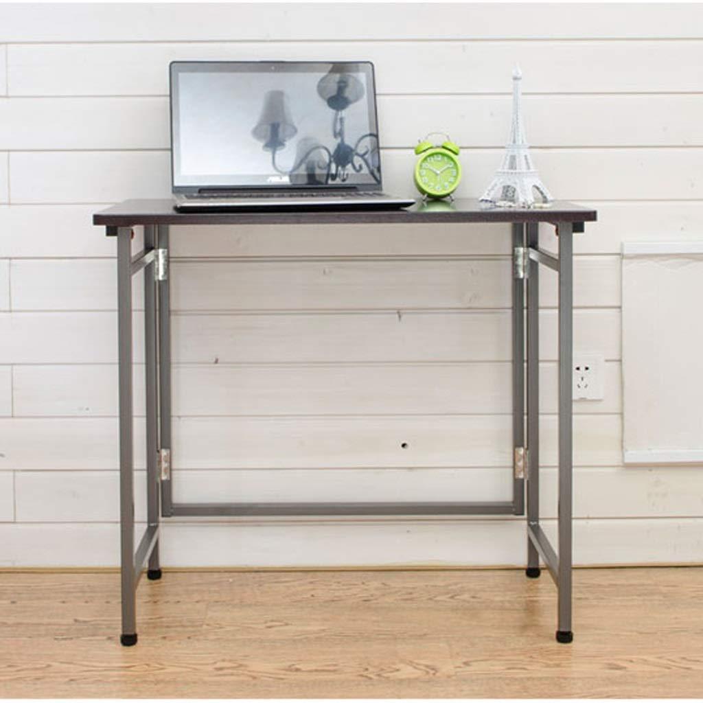 合成折りたたみ式テーブル、金属製テーブル脚、80×40×70 cm、シンプルな机用折りたたみ式テーブル,Black B07SJQYBRH Black