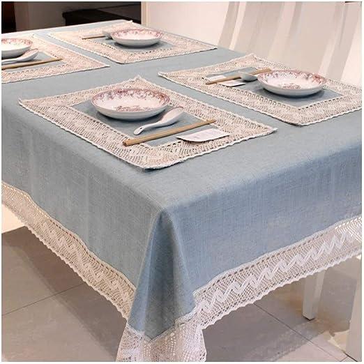 JZG Simple Europa Azul Mantel De Lino Algodón Borde De Encaje Rectangular A Prueba De Polvo Cubiertas De Tabla para Mesa De Té Frigorífico (Color : Cielo Azul): Amazon.es: Hogar