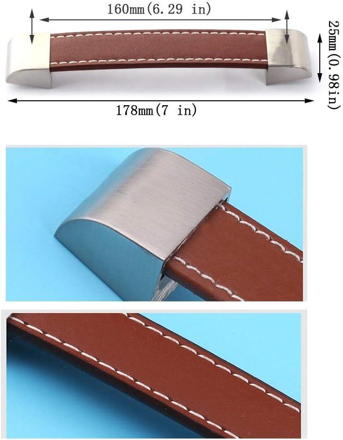 in metallo e pelle 8 pezzi Pomelli per mobili da cucina nero