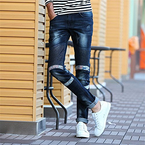 YTD Mens Distressed Ripped Biker Slim Jeans Stretched Moto Denim Pants