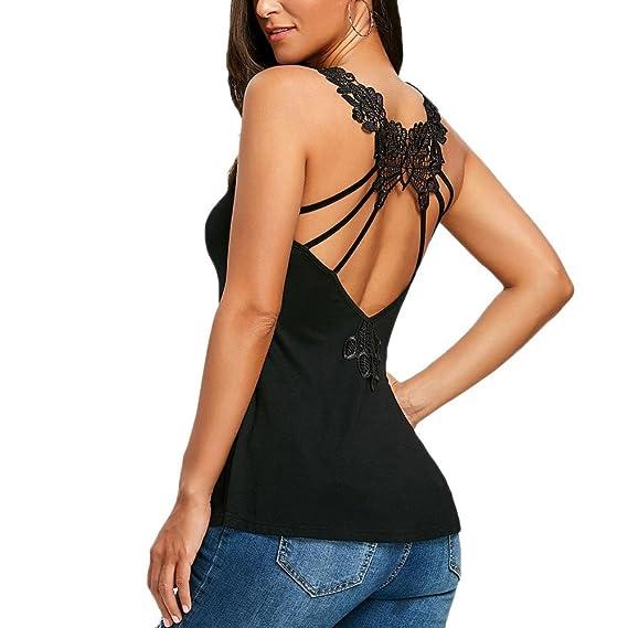 Tops Mujeres Camisetas sin mangas, O-Cuello Sin Espalda Tiras Mariposa Encaje sin mangascon