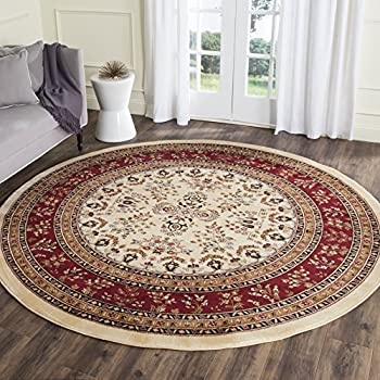 Safavieh Lyndhurst Collection LNH331A Traditional Oriental Ivory And Red Round  Area Rug (8u0027 Diameter