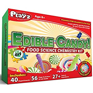 Playz Edible Candy! Food Science STEM Chemistry Kit - 40+ DIY Make Your Own Chocolates and Candy Experiments for Boy, Girls, Teenagers, Kids Ages 8+