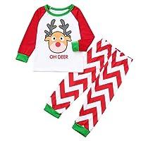 YUYOUG 2PCS Famille Matching Noël Pyjama Set, Homme Femme Bébé Cerf Striped Chemisier + Pantalons, Automne Hiver fête de Noël