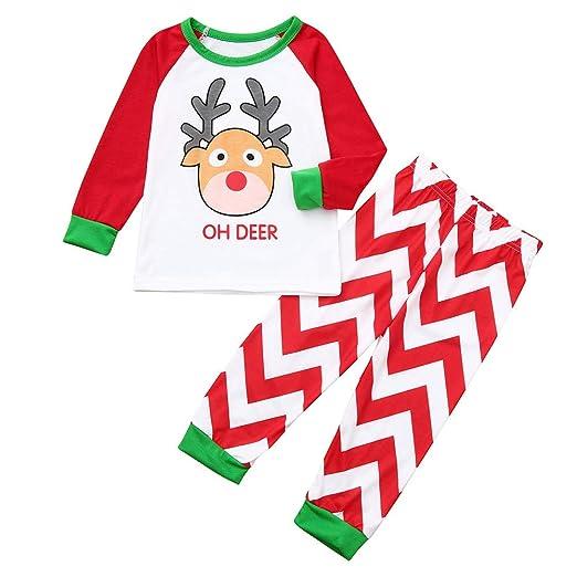 ef75f2a7d3 Amazon.com  Sikye 2Pcs Christmas Pajamas Set Holiday Family Matching Winter  Deer Cartoon Top and Pant PJs Sleepwear  Clothing