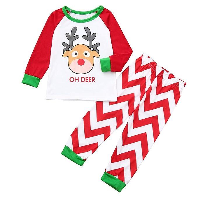 K-youth Conjunto de Pijamas Ropa Familiar Navidad Fiesta Elk Camisetas Hombre Mujer Niño Niña