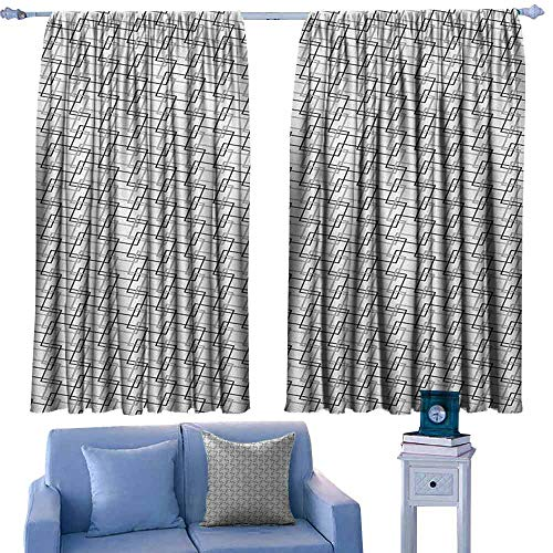 ParadiseDecor Geometric Nursery/Baby Care Curtains Minimalist Pattern with Intersecting Squares Grayscale Lattice Mosaic,Indo Treatment Panes,W63 x L72 Inch