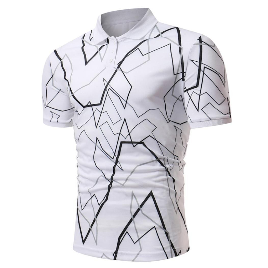 Longra Herren Poloshirt Poloshirt Kurzarm Polohemd Druckblusen Tops Sommer T-Shirt Mens Polo Shirt Kurzarmshirt Slim Fit T-Shirt Basic Shirts Freizeit Stehkragenhemd  L|White
