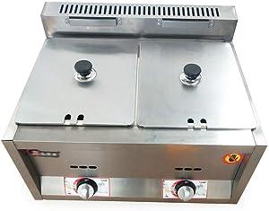 LianDu Dual Server Food Warmer 2-Well Commercial Gas Bain Marie Buffet Countertop Food Warmer Steam Table Steamer Soup Warmer Adjustable Temp Gas Fryer Steamer Cooking Heating Pot (2-Pan 400 fl oz)