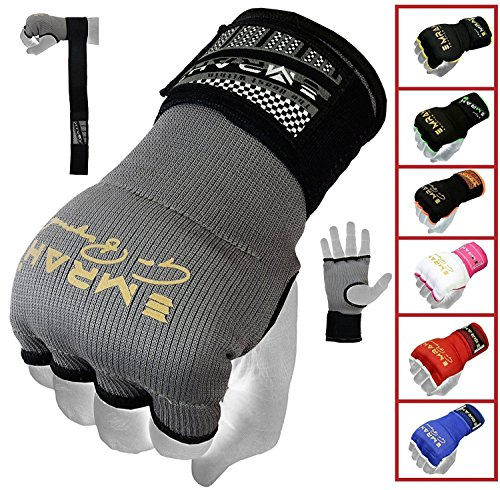 EMRAH PRO Training Boxing Inner Gloves Hand Wraps MMA Fist Protector Bandages Mitts - X (Grey, Large)