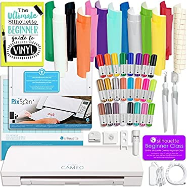 Silhouette Cameo 3 Bluetooth Vinyl Bundle with Oracal 651 Vinyl, 24 Sketch Pens, Pixscan Mat, Guide Books, and More
