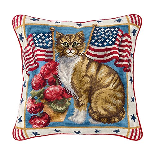C&F Home Patriotic Kitty Patriotic 4th of July Memorial Day Labor Day Americana Liberty Decorative Needlepoint Pillow 14 x 14 Blue