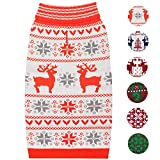 Blueberry Pet 6 Patterns Vintage Ugly Christmas Reindeer Holiday Festive Dog Sweater in Bold and Young Color, Back Length 16'', Pack of 1 Clothes for Dogs