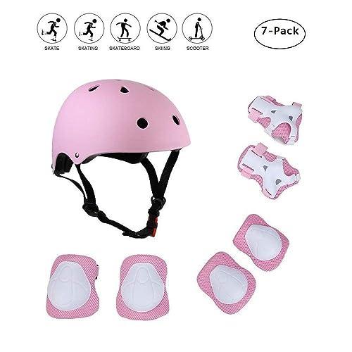 COOLGOEU Skateboard Helm Kinder, 7 in 1 Protektorenset Kinder mit Knieschoner, Ellenbogenschoner und Handgelenkschoner für Inlineskates, Skateboard, Hoverboard, Fahrrad, BMX-Fahrrad