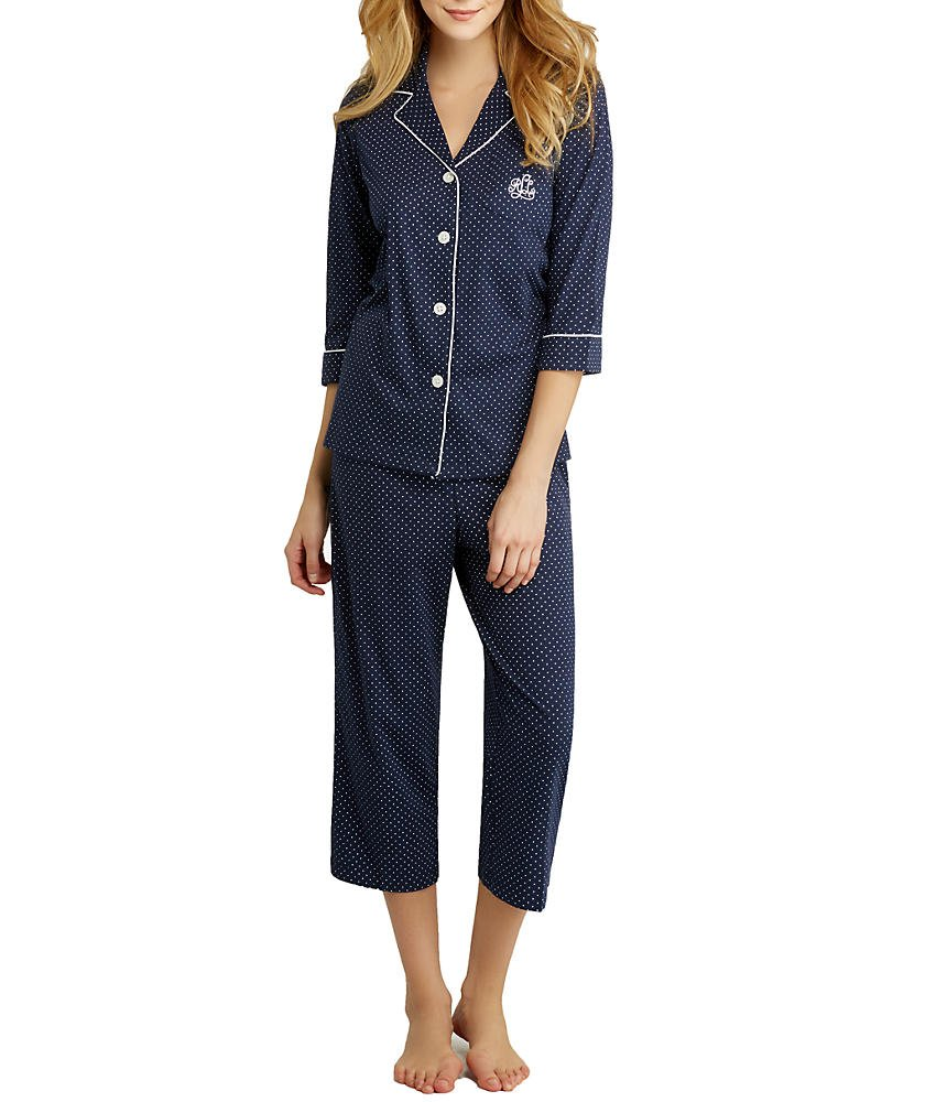 Lauren Ralph Lauren Women's Essentials Bingham Knits Capri PJ Set Madeleine Dot Windsor Navy/White Small