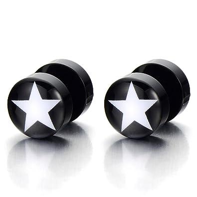 10MM Negro Círculo con Estrella, Enchufe falso Fake Plug, Pendientes de Hombre Mujer, Aretes, 2 Piezas: Amazon.es: Joyería
