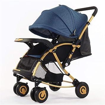 Zhangcaiyun Carrito de Bebe Cool Portable Baby Baby Cochecito al Aire Libre Baby Cradle Fácil de Llevar Recién Nacido y niño pequeño (Color : Azul): ...