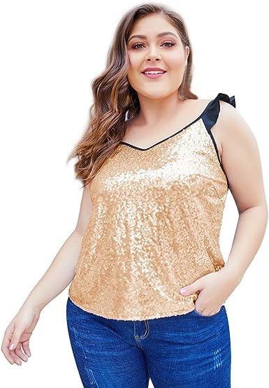 JURTEE Camiseta Mujer Simple Moda Cuello En V Ruffle Lentejuelas Chaleco Tops Blusa Sin Manga Camisa Verano Ropa: Amazon.es: Ropa y accesorios