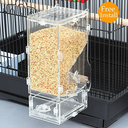 Birds Canary Pet (Mrli Pet No Mess Bird Feeder Free Install Tidy Seed Parrot Integrated Automatic Tube Feeder with Perch Cage Accessories for Budgerigar Canary Cockatiel Finch Parakeet Food Container)