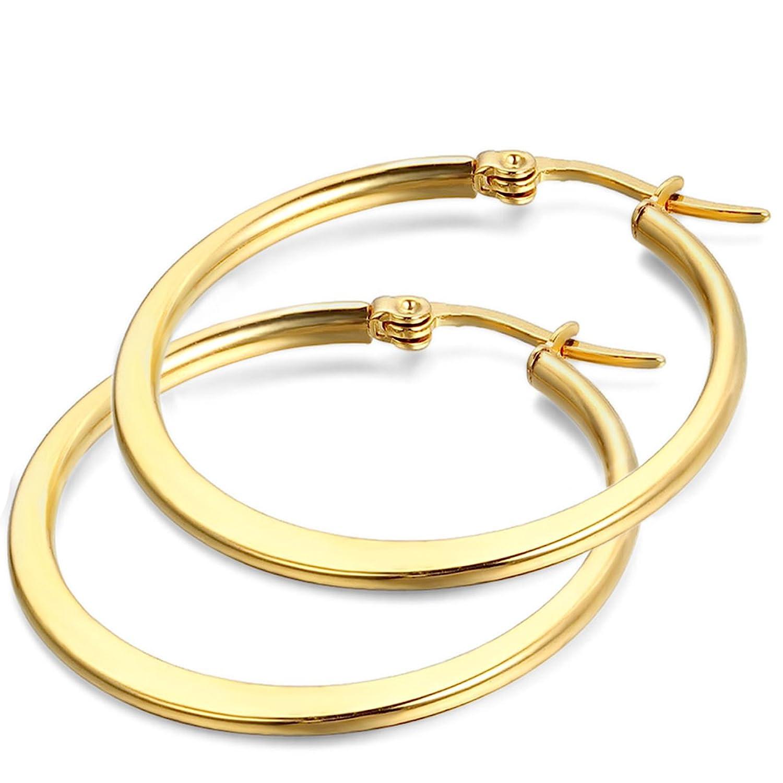 Jewelrywe Pendientes joyería por Donna MM Pendientes de aro Classic Oro con