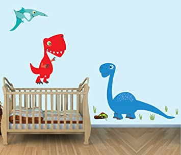 Large Dinosaur Wall Decals, T Rex, Colorful Fabric Wall Stickers For Baby  Room