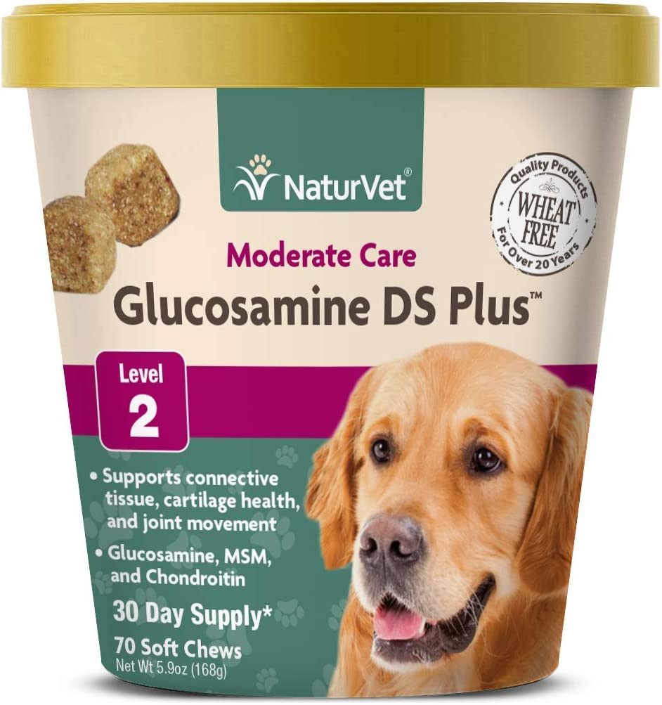 NaturVet – Glucosamine DS Plus - Level 2 Moderate Care – Supports Healthy Hip & Joint Function – Enhanced with Glucosamine, MSM & Chondroitin – for Dogs & Cats