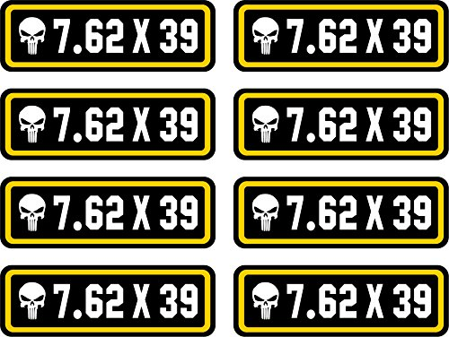 7.62 x 39 Ammo Can Stickers | Punisher | 8-Pack Ammo Can Decals Bullet Sticker 3 x 1