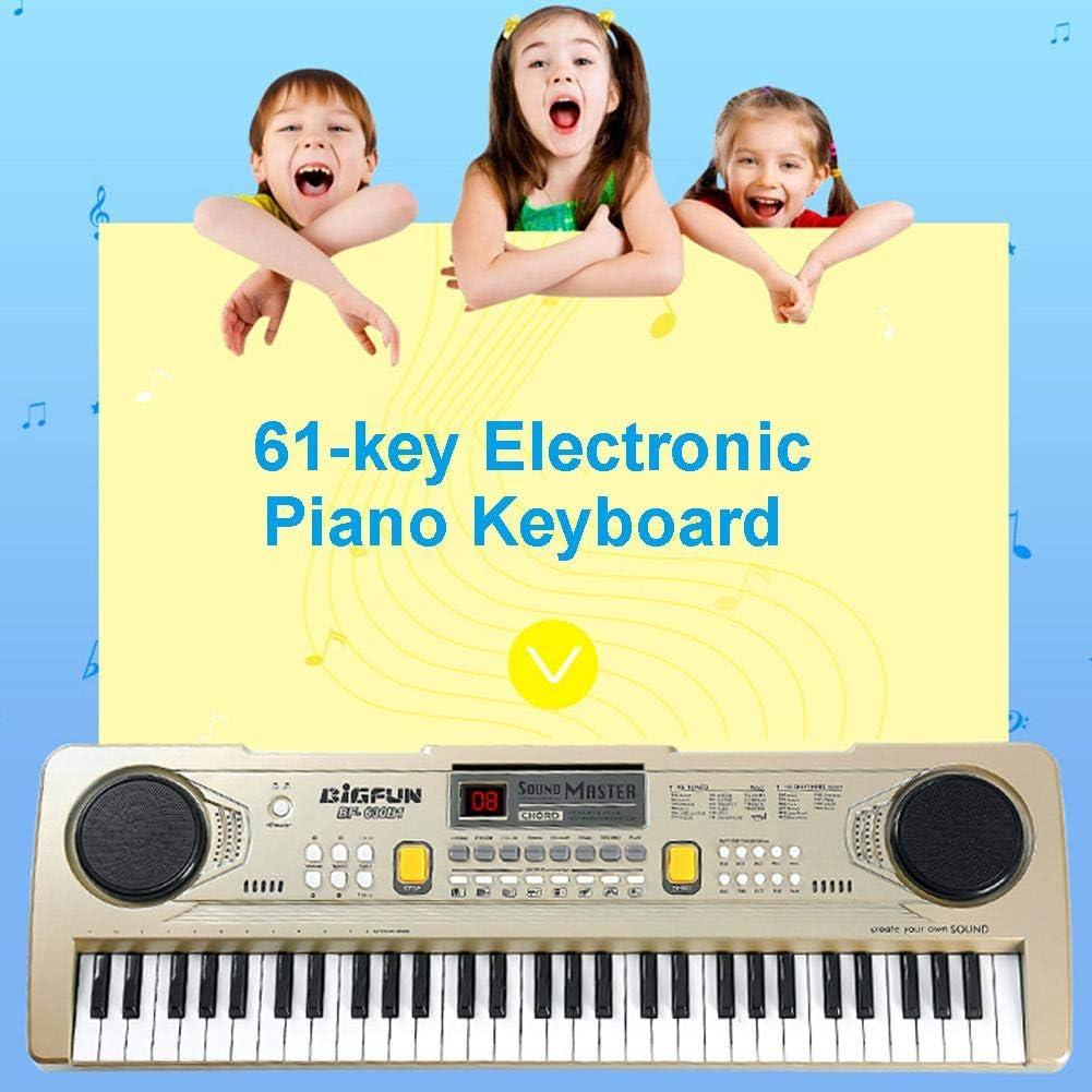Teclado electr/ónico de 61 teclas port/átil para piano con micr/ófono interactivo de ense/ñanza de piano con micr/ófono para ni/ños educaci/ón temprana