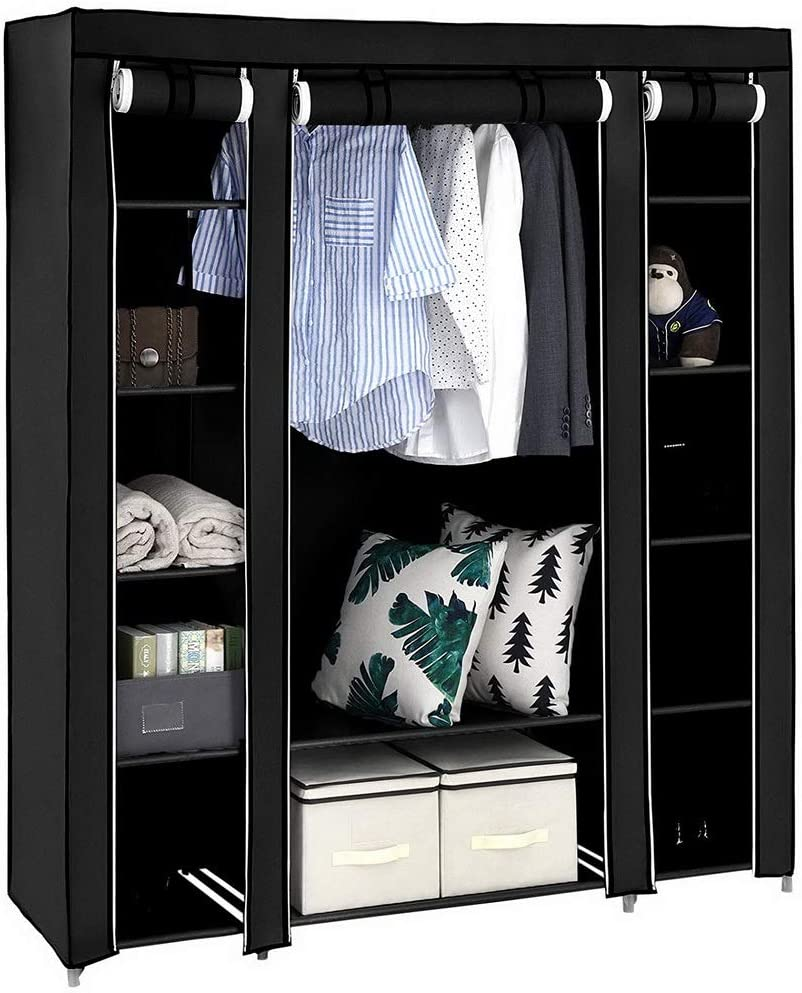 CASTAIN Canvas Wardrobe Bedroom Furniture Cupboard Foldable Clothes Storage Organiser With Hanging Rail 12 Shelves//Black