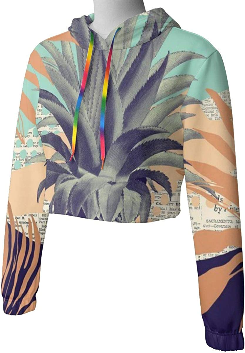 Womens Hoodie Sweater Art Summer Pineapple Palm Newspaper Crop Top Sweatshirt Lumbar Sweatshirt Cropped Hoodie