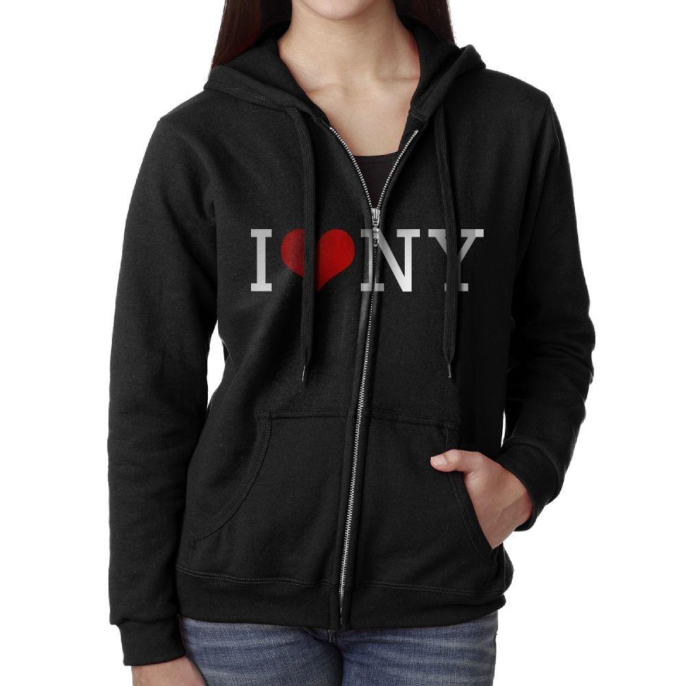 I Love NY New York Heart Shape Pullover Hoodies Fashion Zipper Sweatshirt Jacket Womens Black