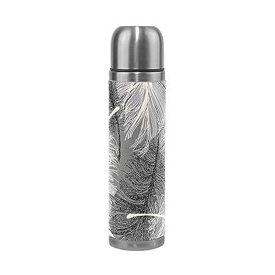Jstel Blanc Plume en acier inoxydable Gourde thermos anti-fuites double Bouteille Vide pour café chaud ou froid à thé + Boisson Tasse Top 500ml