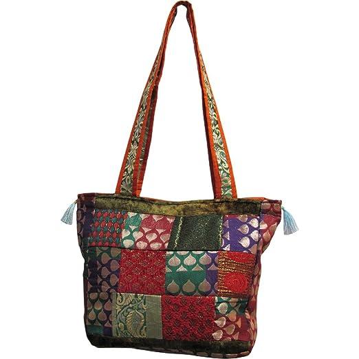895889567e7a Amazon.com  Indian Silk Zari Sari Quilted Patchwork Boho Vintage Fashion  Multicolor Tote Bag  Clothing