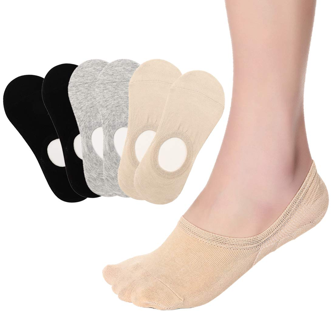 Women No Show Liner Socks Low Cut Cotton Non Slip Invisible Hidden Socks 6 Pairs (Free size, 6 Pairs in Solid Colors)