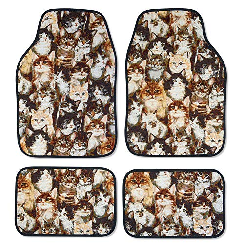 Cat Lover's Car Mats for Front and Back to Keep Car Floors Clean - Set of 4 - Makes a great novelty gift idea ()