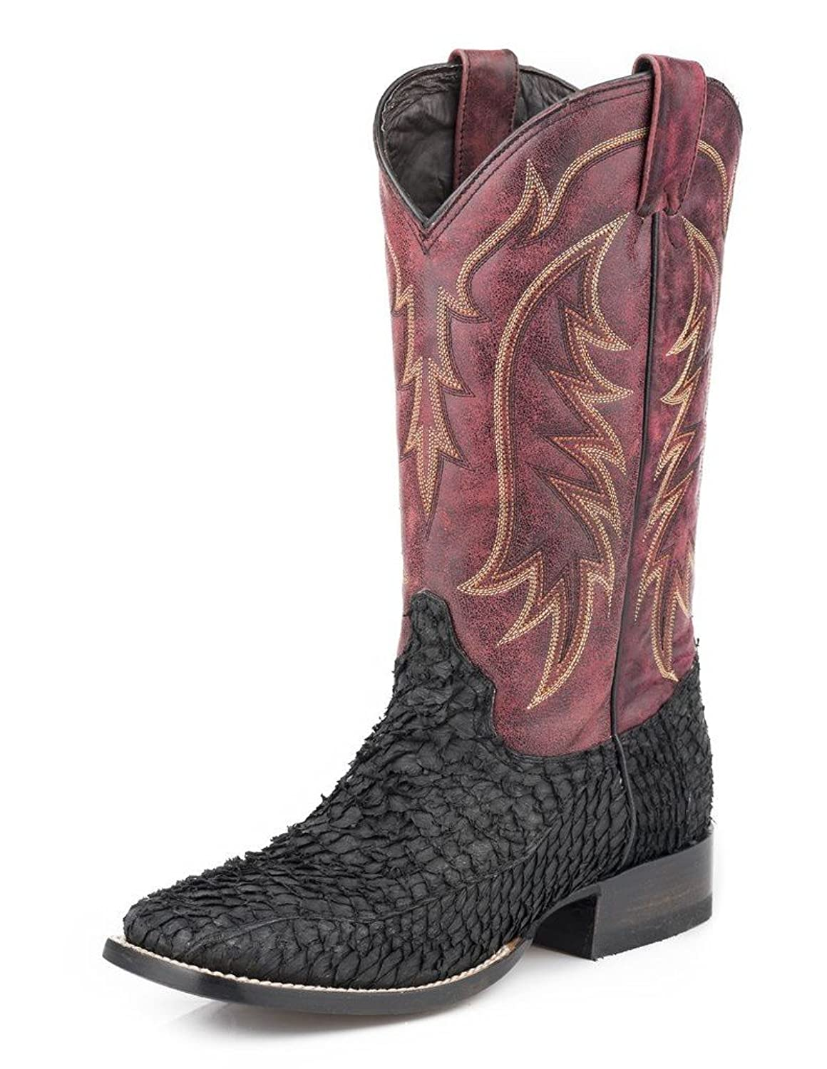 High quality stetson western boots mens fish scales black for Fish scale boots