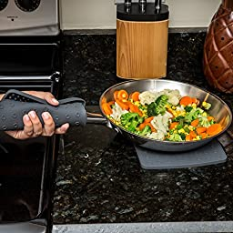 Premium Silicone Trivet Mats / Hot Pads, Pot Holders, Spoon Rest, Jar Opener & Coasters - Our 5 in 1 Kitchen Tool is Heat Resistant to 442 °F, Thick & Flexible (7\