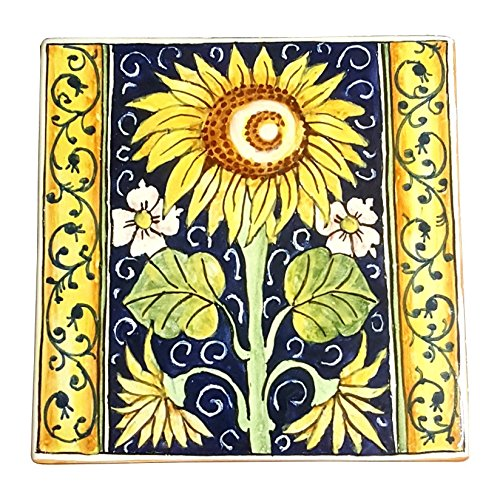Owl Tile (CERAMICHE D'ARTE PARRINI - Italian Ceramic Art Tile Pantiles Pottery Hand Painted Decorated Sunflower Made in ITALY Tuscan)
