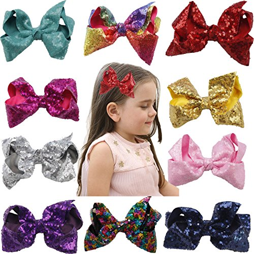 Price comparison product image xsby Bows Hairbands for Baby Girls, 10pcs Baby Hair Bows Clip Hairbows Hairbands with Sequins Shinning Fashion Accessories B