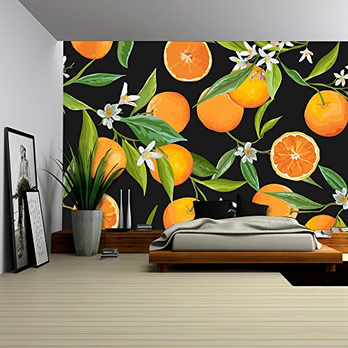 wall26 - Vector - Seamless Pattern. Orange Fruits Background. Floral Pattern. Flowers, Leaves, Fruits Background - Removable Wall Mural | Self-adhesive Large Wallpaper - 66x96 inches - Orange Flower Wallpaper