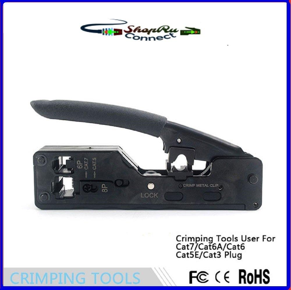 Black Handle Cat7/10Gig Heavy Duty Modular Plug Crimp Tool Ethernet ...